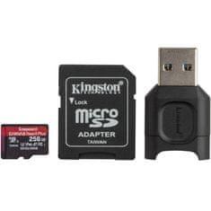 Kingston Canvas React Plus microSD 256 GB spominska kartica + MobileLite Plus čitalec + microSD adapter