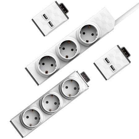 Allocacoc przedłużacz PowerStrip Modular Switch 1,5 m + 2× USB + moduł Strip