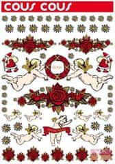 Vavex Vianočná samolepiaca dekorácia samolepiace anjeliky 0112, Cous cous, Gloria