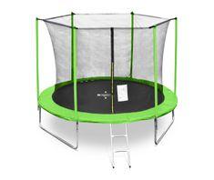 Legoni Fun trampolin, z zaščitno mrežo in lestvijo, 244 cm, zelen