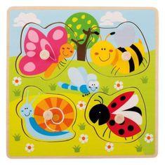 Jouéco drevené puzzle s úchytmi Zvieratká na lúke 12m+