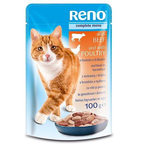 Reno kapsička pre mačky 100g hovädzie mäso+hydina