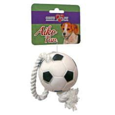 COBBYS PET AIKO FUN Focilabda kötélen 26cm, átmérő 7cm gumijáték kutyáknak
