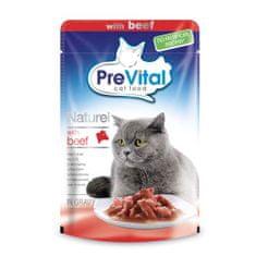 PreVital Naturel kapsičky pro kočky 85g hovězí v omáčce