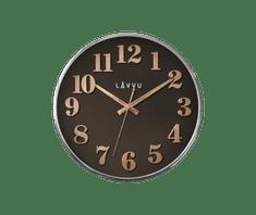 LAVVU Hnědé hodiny LAVVU HOME Brown s dřevěným dekorem
