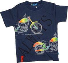 KUGO Chlapecké tričko s krátkým rukávem tm. modré s motorkou.