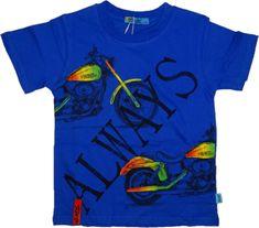 KUGO Chlapecké tričko s krátkým rukávem modré s motorkou.