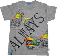 KUGO Chlapecké tričko s krátkým rukávem šedé s motorkou.