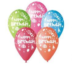Gemar Latex lufi boldog születésnapot betűkkel színes keverékkel - héliumhoz - 5db