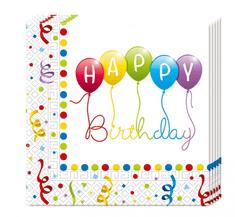 """GoDan Papierové servítky """"Happy Birthday Balóny"""" 33x33cm - 20ks"""