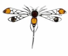 Klenoty Amber Luxusní brož s jantarem - vážka