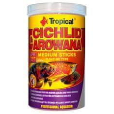 TROPICAL Cichlid&Arowana Medium Sticks 1000ml/360g lebegő pálcikás haltáp középkorú sügerek és fiatal arowanák számára