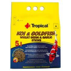 TROPICAL Koi&Goldfish Wheat Germ&Garlic Sticks 5l/400g plávajúce krmivo pre ryby do jazierka