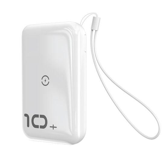 BASEUS Mini S Bracket Power Bank 10000mAh, bezdrátová nabíječka Qi, bílý