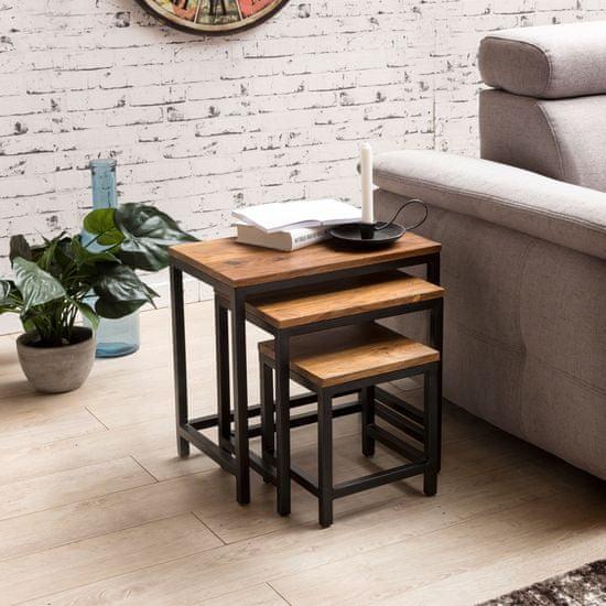 Bruxxi Odkládací stolek Alea (SADA 3 ks), 45 cm, masiv Sheesham