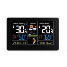 Solight Solight meteostanice, extra veľký farebný LCD, teplota, vlhkosť, tlak, RCC, Usb nabíjanie, čierna TE81