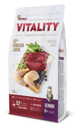 Akinu hrana za mačke VITALITY cat senior chicken & duck 1,5 kg