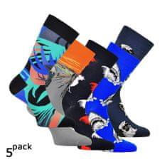 OXSOX Pánské barevné veselé bavlněné CRAZY SOCKS ponožky 5Pack.