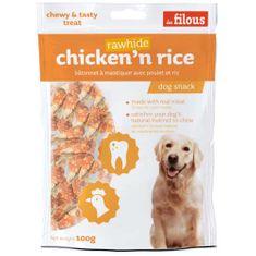 LES FILOUS CHICKEN AND RICE Rawhide STICK 100g rágósúlyzó csirkehússal és rizzsel