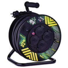 Emos Profi prodlužovací kabel na bubnu - 4 zásuvky, 25m, 3 x 2,5mm, guma, IP44, černý