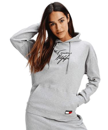 Tommy Hilfiger női pulóver UW0UW02300 Hoodie LWK, S, szürke