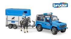 BRUDER 2588 Policejní Land Rover s přepravníkem na koně a policistou