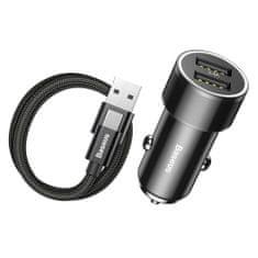 BASEUS Small Screw 3.4A Smart autós töltő 2x USB + USB Type-C kábel 1m, fekete
