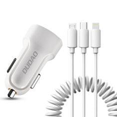 DUDAO R7 avtomobilski adapter 2x USB 2.4A + 3in1 Lightning / Type C / micro USB, biela