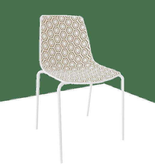 GABER Židle ALHAMBRA NA, bílobéžová/bílá - set 4ks