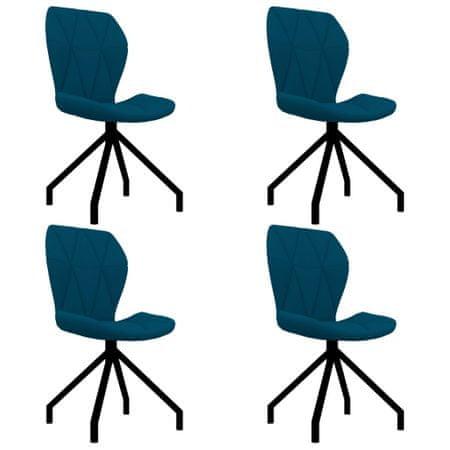 shumee Jedilni stoli 4 kosi modro umetno usnje