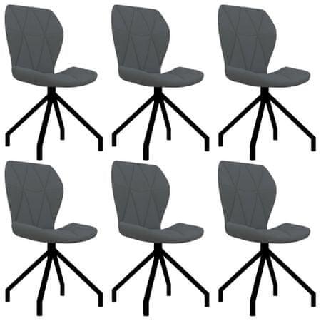 shumee Jedilni stoli 6 kosov sivo umetno usnje
