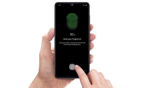 Samsung Galaxy A41, zabezpečenie, Samsung Knox, optická čítačka odtlačkov prstov