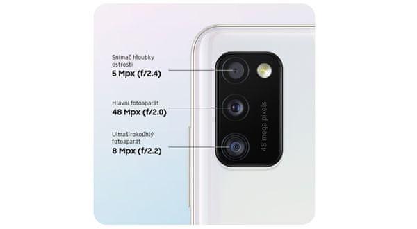 Samsung Galaxy A41, trojnásobný fotoaparát, ultraširokouhlý, hĺbka ostrosti, vysoké rozlíšenie fotoaparátu