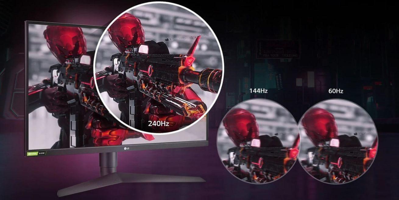 herní monitor LG 27GN750 (27GN750-B.AEU) obnovovací frekvence 144 Hz
