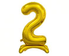 GoDan Fóliový balón so stojanom číslo 2 - zlatá - 74 cm