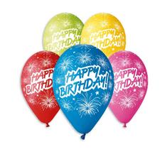 Gemar Latexové balóny Premium s nápisom Happy Birthday - na hélium - 5ks