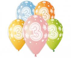 Gemar Premium Latex Balloons Number 3 színes mix-on hélium-5db