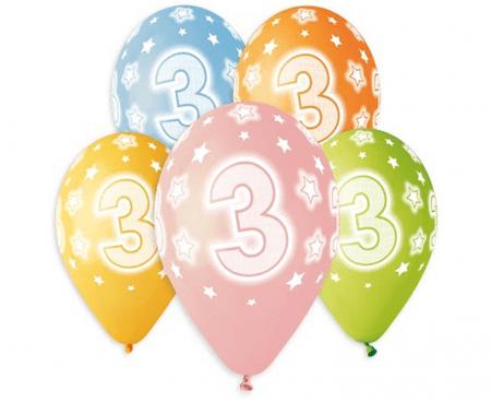 Gemar Latex léggömbök száma 3 PREMIUM mix szín - héliumon - 5 db