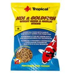 TROPICAL Koi&Goldfish Wheat Germ&Garlic Sticks 1l/90g víz felszínén úszó haltáp tavi halaknak