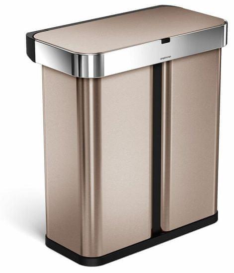 Simplehuman Bezdotykový odpadkový kôš s hlasovým ovládaním, triedený odpad, 58 l, rose gold