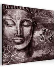InSmile Abstraktní obraz fialovo hnědý Buddha Velikost (šířka x výška): 40x40 cm