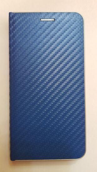 R2Invest Kožené pouzdro CARBON pro Samsung Galaxy J6+ J610 - modré