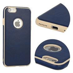 AMA Silikonový/ kožený obal VINTAGE pro IPHONE 7/ 8 - modrý