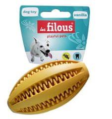 LES FILOUS Fogtisztító gumi rögbi labda 11cm vanília iízzel, sárga kutya játék
