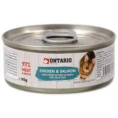 Ontario konzerva Chicken Pieces+Salmon 12x95 g