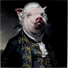 KARE Sklenený obraz Gentleman Pig 120x120cm