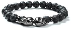 Tiniana Náramek z lávových kamenů duble ve stříbrné barvě premium