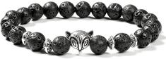 Tiniana Náramek z lávových kamenů liška ve stříbrné barvě