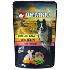 Ontario saszetki dla psa Pork Cartilage with Chicken in Broth 10x100 g