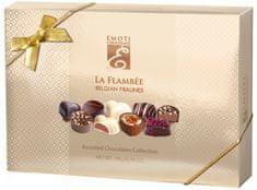 EMOTI Velké balení belgických pralinek z mléčné, hořké a bílé čokolády La Flambee, 198g